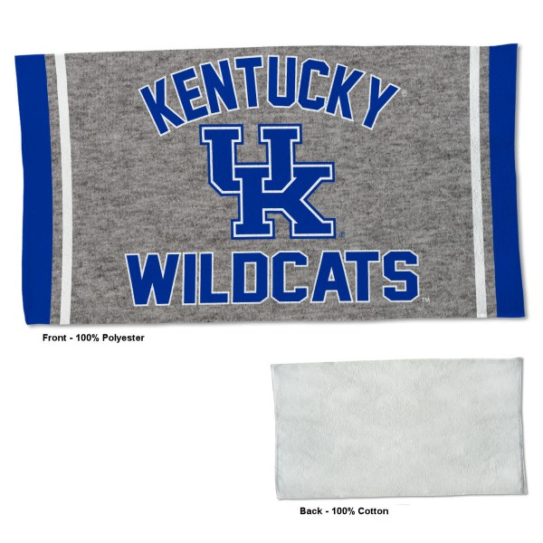 Kentucky Wildcats Workout Exercise Towel measures 22x42 inches, is made of 100% Polyester on the front and 100% Cotton on the back, has double stitched sewing perimeter, and Graphics and Logos, as shown. Our Kentucky Wildcats Workout Exercise Towel is officially licensed by the selected university and the NCAA. Also, machine washable and dryer safe.