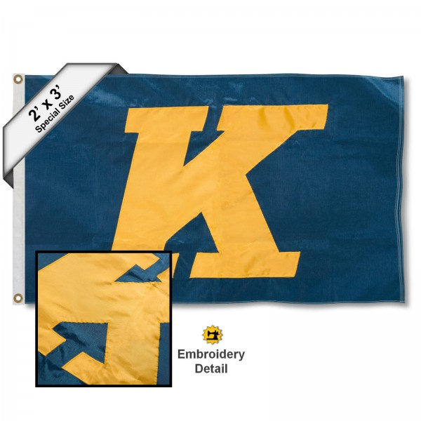 KSU Golden Flashes Small 2'x3' Flag measures 2x3 feet, is made of 100% nylon, offers quadruple stitched flyends, has two brass grommets, and offers embroidered KSU Golden Flashes logos, letters, and insignias. Our 2x3 foot flag is Officially Licensed by the selected university.