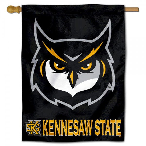 "KSU Owls Banner Flag is constructed of polyester material, is a vertical house flag, measures a large 30""x40"", offers screen printed athletic insignias and logos, and has a top pole sleeve to hang vertically outdoor or indoor. Our KSU Owls Banner Flag is Officially Licensed by Kennesaw State University and NCAA."