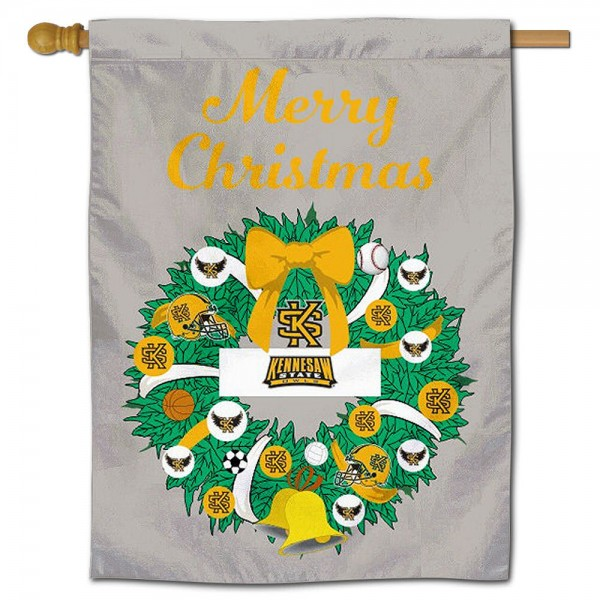 KSU Owls Happy Holidays Banner Flag measures 30x40 inches, is made of poly, has a top hanging sleeve, and offers dye sublimated KSU Owls logos. This Decorative KSU Owls Happy Holidays Banner Flag is officially licensed by the NCAA.
