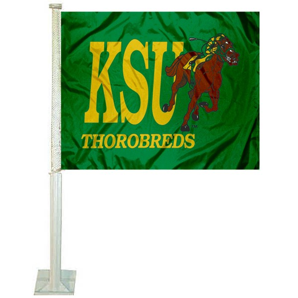 KSU Thorobreds Car Window Flag measures 12x15 inches, is constructed of sturdy 2 ply polyester, and has screen printed school logos which are readable and viewable correctly on both sides. KSU Thorobreds Car Window Flag is officially licensed by the NCAA and selected university.