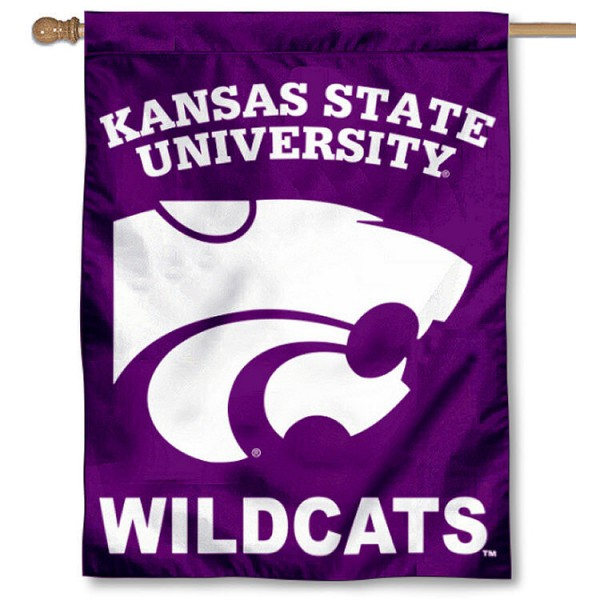KSU Wildcat House Flag is a vertical house flag which measures 30x40 inches, is made of 2 ply 100% polyester, offers screen printed NCAA team insignias, and has a top pole sleeve to hang vertically. Our KSU Wildcat House Flag is officially licensed by the selected university and the NCAA.