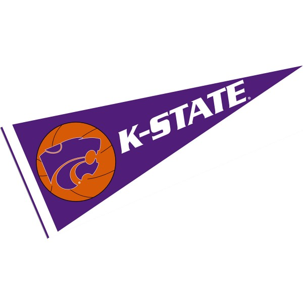 KSU Wildcats Basketball Pennant consists of our full size sports pennant which measures 12x30 inches, is constructed of felt, is single sided imprinted, and offers a pennant sleeve for insertion of a pennant stick, if desired. This KSU Wildcats Pennant Decorations is Officially Licensed by the selected university and the NCAA.