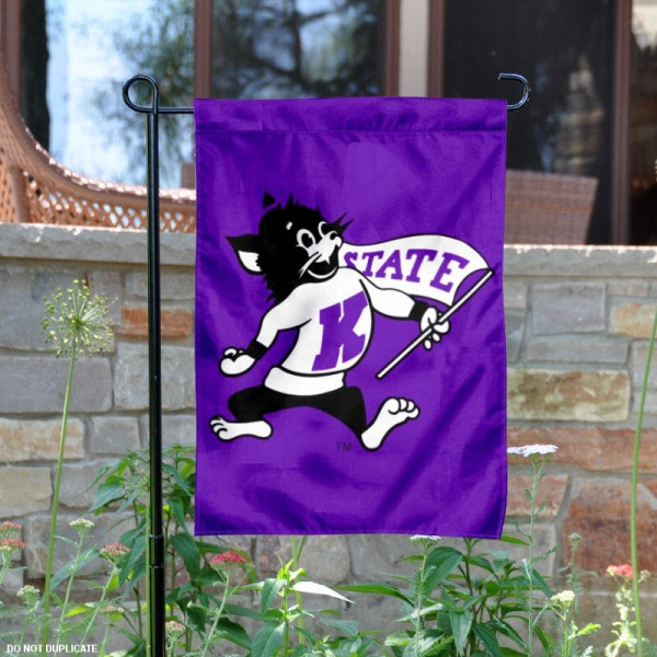KSU Wildcats Throwback Logo Garden Flag measures 13x18 inches, is made of thick polyester, and has dye sublimated university logos and lettering. Our KSU Wildcats Throwback Logo Garden Flag is officially licensed by the NCAA and university garden flags are perfect for your garden, entranceway, mailbox, or window.