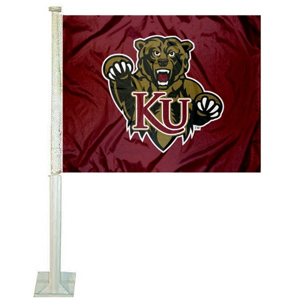 KU Bears Logo Car Flag measures 12x15 inches, is constructed of sturdy 2 ply polyester, and has screen printed school logos which are readable and viewable correctly on both sides. KU Bears Logo Car Flag is officially licensed by the NCAA and selected university.