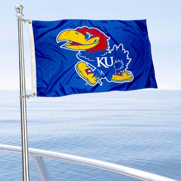 KU Golf Cart Flag is a small 12x18 inches, made of 2-ply polyester with quad stitched flyends, and is double-sided. Our Golf Cart Logo Flags are Officially Licensed and Approved by University of Kansas and NCAA.