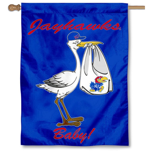 KU Jayhawks New Baby Flag measures 30x40 inches, is made of poly, has a top hanging sleeve, and offers dye sublimated KU Jayhawks University logos. This Decorative KU Jayhawks University House Flag is officially licensed by the NCAA.