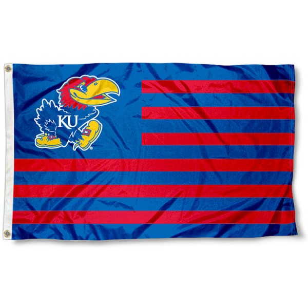 KU Jayhawks Striped Flag measures 3'x5', is made of polyester, offers quadruple stitched flyends for durability, has two metal grommets, and is viewable from both sides with a reverse image on the opposite side. Our KU Jayhawks Striped Flag is officially licensed by the selected school university and the NCAA