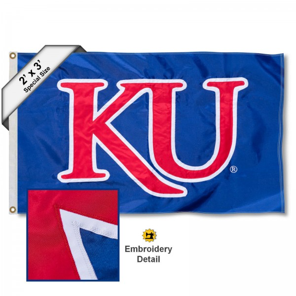 KU Small 2'x3' Flag measures 2x3 feet, is made of 100% nylon, offers quadruple stitched flyends, has two brass grommets, and offers embroidered KU logos, letters, and insignias. Our KU Small 2'x3' Flag is Officially Licensed by the selected university.