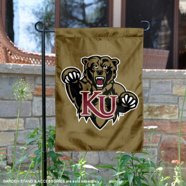 Kutztown Bears Gold Garden Flag is 13x18 inches in size, is made of 2-layer polyester, screen printed university athletic logos and lettering, and is readable and viewable correctly on both sides. Available same day shipping, our Kutztown Bears Gold Garden Flag is officially licensed and approved by the university and the NCAA.