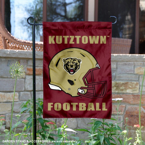 Kutztown University Football Helmet Garden Banner is 13x18 inches in size, is made of 2-layer polyester, screen printed Kutztown University athletic logos and lettering. Available with Same Day Express Shipping, Our Kutztown University Football Helmet Garden Banner is officially licensed and approved by Kutztown University and the NCAA.