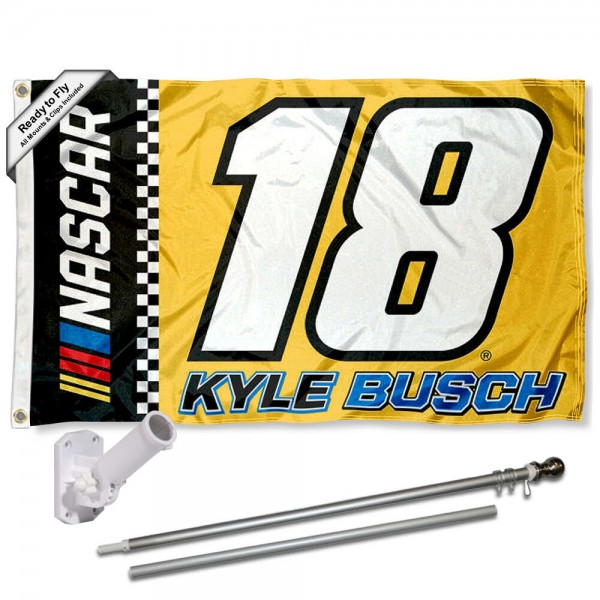 Our Kyle Busch Flag Pole and Bracket Mount Kit includes the flag as shown and the recommended flagpole and flag bracket. The flag is made of polyester, has quad-stitched flyends, and the NASCAR Licensed driver logos are double sided screen printed. The flagPole and Bracket Mount are made of rust proof aluminum and includes all hardware so this kit is ready to install and fly.