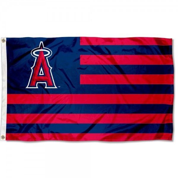LA Angels Nation Flag measures 3x5 feet, is made of polyester, offers quad-stitched flyends, has two metal grommets, and is viewable from both sides with a reverse image on the opposite side. Our LA Angels Nation Flag is Genuine MLB Merchandise.