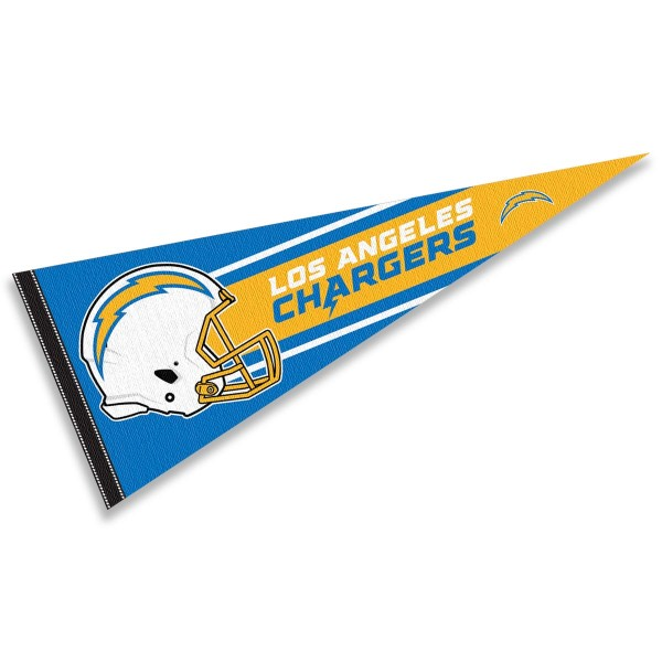 This LA Chargers Football Pennant measures 12x30 inches, is constructed of felt, and is single sided screen printed with the LA Chargers logo and helmets. This LA Chargers Football Pennant is a NFL Officially Licensed product.