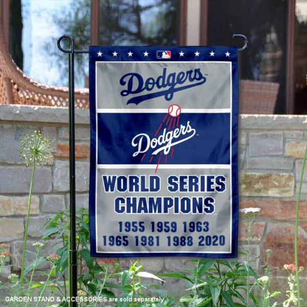 LA Dodgers 7-Time World Series Champions Garden Flag is 12.5x18 inches in size, is made of 2-ply polyester, and has two sided screen printed logos and lettering. Available with Express Next Day Shipping, our LA Dodgers 7-Time World Series Champions Garden Flag is MLB Genuine Merchandise and is double sided.