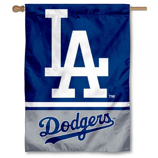 LA Dodgers Double Sided House Flag is screen printed with LA Dodgers logos, is made of 2-ply 100% polyester, and is two sided and double sided. Our banners measure 28x40 inches and hang vertically with a top pole sleeve to insert your banner pole or flagpole.