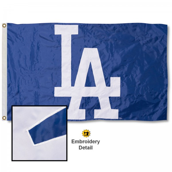 This LA Dodgers Embroidered Nylon Flag is double sided, made of nylon, 3'x5', has two metal grommets, indoor or outdoor, and four-stitched fly ends. These LA Dodgers Embroidered Nylon Flags are Officially Approved the LA Dodgers and MLB.
