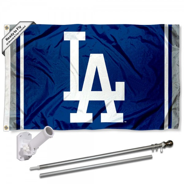 Our LA Dodgers LA Flag Pole and Bracket Kit includes the flag as shown and the recommended flagpole and flag bracket. The flag is made of polyester, has quad-stitched flyends, and the MLB Licensed team logos are double sided screen printed. The flagpole and bracket are made of rust proof aluminum and includes all hardware so this kit is ready to install and fly.