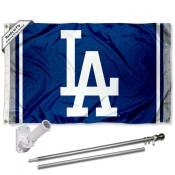 LA Dodgers LA Flag Pole and Bracket Kit