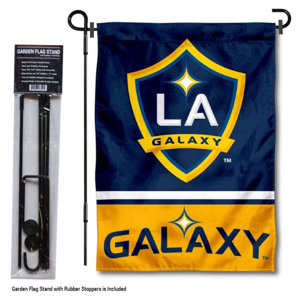 """LA Galaxy Garden Flag and Flagpole Stand kit includes our 12.5""""x18"""" garden banner which is made of 2 ply poly with liner and has screen printed licensed logos. Also, a 40""""x17"""" inch garden flag stand is included so your LA Galaxy Garden Flag and Flagpole Stand is ready to be displayed with no tools needed for setup. Fast Overnight Shipping is offered and the flag is Officially Licensed and Approved by the selected team."""
