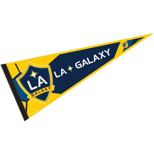 LA Galaxy Pennant is our Full Size MLS soccer team pennant which measures 12x30 inches, is made of felt, and is single sided screen printed. Our LA Galaxy Pennant is perfect for showing your MLS team allegiance in any room of the house and is MLS licensed.