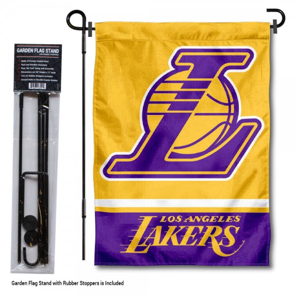 """LA Lakers Garden Flag and Flag Pole Stand kit includes our 12.5""""x18"""" garden banner which is made of 2 ply poly with liner and has screen printed licensed logos. Also, a 40""""x17"""" inch garden flag stand is included so your LA Lakers Garden Flag and Flag Pole Stand is ready to be displayed with no tools needed for setup. Fast Overnight Shipping is offered and the flag is Officially Licensed and Approved by the selected team."""