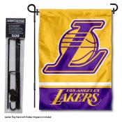 LA Lakers Garden Flag and Flag Pole Stand