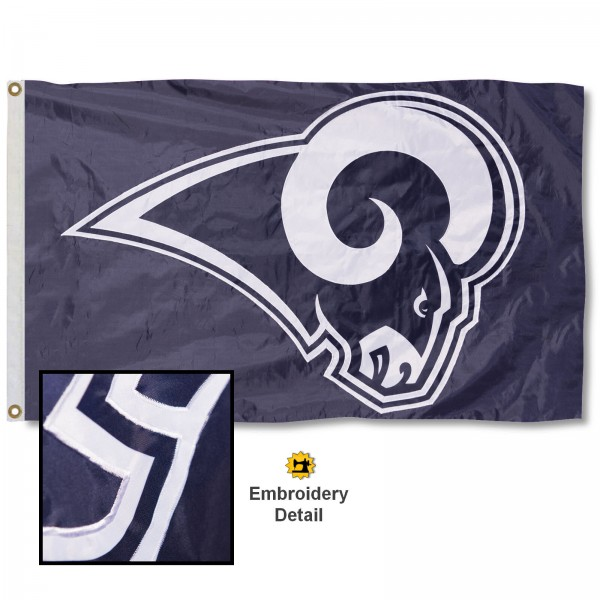 This LA Rams Embroidered Nylon Flag is double sided, made of nylon, 3'x5', has two metal grommets, indoor or outdoor, and four-stitched fly ends. These LA Rams Embroidered Nylon Flags are Officially Approved the Los Angeles Rams and NFL.