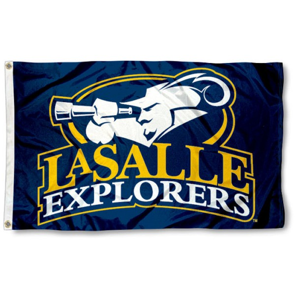This La Salle Explorers Flag measures 3'x5', is made of 100% nylon, has quad-stitched sewn flyends, and has two-sided La Salle University printed logos. Our La Salle Explorers Flag is officially licensed and all flags for La Salle Explorers are approved by the NCAA and Same Day UPS Express Shipping is available.