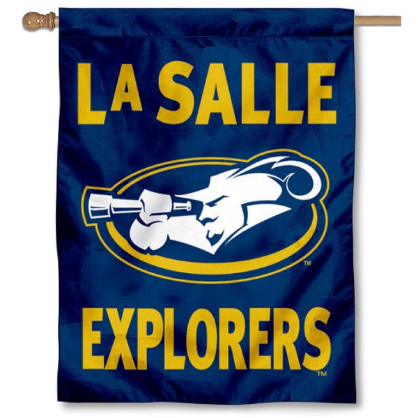 La Salle University Banner Flag is a vertical house flag which measures 30x40 inches, is made of 2 ply 100% polyester, offers screen printed NCAA team insignias, and has a top pole sleeve to hang vertically. Our La Salle University Banner Flag is officially licensed by the selected university and the NCAA.