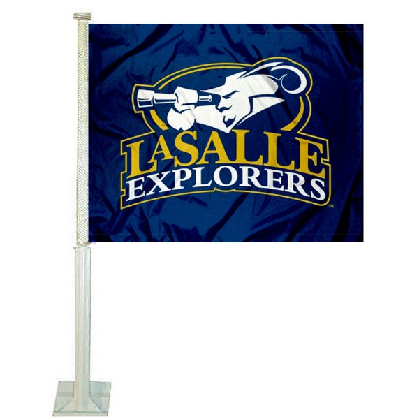 La Salle University Car Window Flag measures 12x15 inches, is constructed of sturdy 2 ply polyester, and has dye sublimated school logos which are readable and viewable correctly on both sides. La Salle University Car Window Flag is officially licensed by the NCAA and selected university.