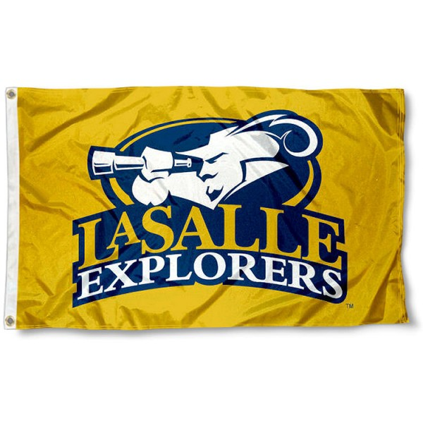 La Salle University Gold Outdoor Flag measures 3'x5', is made of 100% poly, has quadruple stitched sewing, two metal grommets, and has double sided LaSalle Explorers logos. Our La Salle University Gold Outdoor Flag is officially licensed by the selected university and the NCAA.