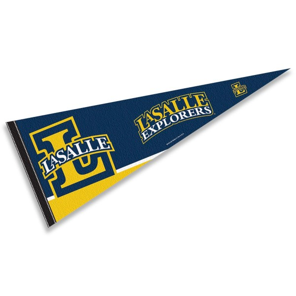 La Salle University Pennant consists of our full size sports pennant which measures 12x30 inches, is constructed of felt, is single sided imprinted, and offers a pennant sleeve for insertion of a pennant stick, if desired. This La Salle University Felt Pennant is officially licensed by the selected university and the NCAA.