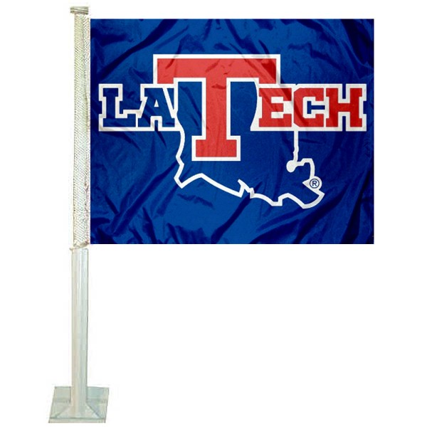 La Tech Bulldogs Car Window Flag measures 12x15 inches, is constructed of sturdy 2 ply polyester, and has screen printed school logos which are readable and viewable correctly on both sides. La Tech Bulldogs Car Window Flag is officially licensed by the NCAA and selected university.