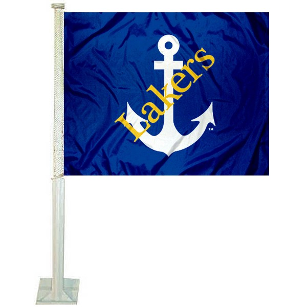 Lake Superior State Lakers Car Window Flag measures 12x15 inches, is constructed of sturdy 2 ply polyester, and has screen printed school logos which are readable and viewable correctly on both sides. Lake Superior State Lakers Car Window Flag is officially licensed by the NCAA and selected university.