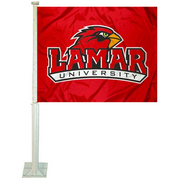 Lamar University Car Window Flag measures 12x15 inches, is constructed of sturdy 2 ply polyester, and has dye sublimated school logos which are readable and viewable correctly on both sides. Lamar University Car Window Flag is officially licensed by the NCAA and selected university.