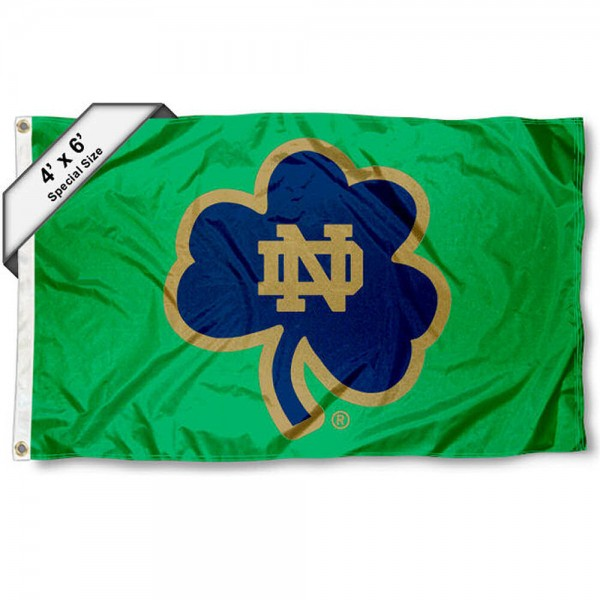 Large 4x6 Flag for Notre Dame measures 4x6 feet, is made thick woven nylon, has quadruple stitched flyends, two metal grommets, and offers screen printed NCAA Fighting Irish Large athletic logos and insignias. Our Large 4x6 Flag for Notre Dame is officially licensed by Fighting Irish and the NCAA.
