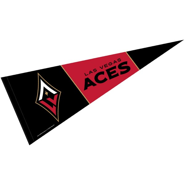 Las Vegas Aces Pennant is our WNBA team pennant which measures 12x30 inches, is made of soft wool and felt blends, has a pennant sleeve, and is single sided screen printed. Our Las Vegas Aces Pennant is perfect for showing your WNBA team allegiance in any room of the house and is WNBA officially licensed
