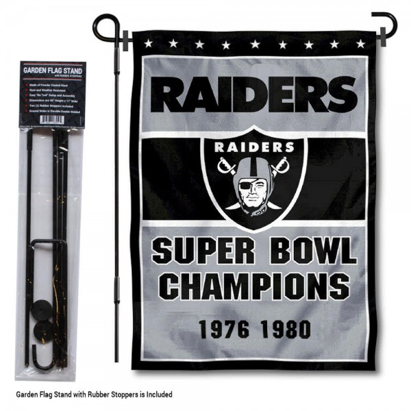 """Las Vegas Raiders 2 Time Champions Garden Banner and Flag Stand kit includes our 13""""x18"""" garden banner which is made of 2 ply poly with liner and has screen printed licensed logos. Also, a 40""""x17"""" inch garden flag stand is included so your Las Vegas Raiders 2 Time Champions Garden Banner and Flag Stand is ready to be displayed with no tools needed for setup. Fast Overnight Shipping is offered and the flag is Officially Licensed and Approved by the selected team."""
