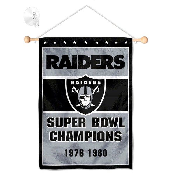 Las Vegas Raiders 2 Time Champions Window And Wall Banner Inclucing Suction Cup