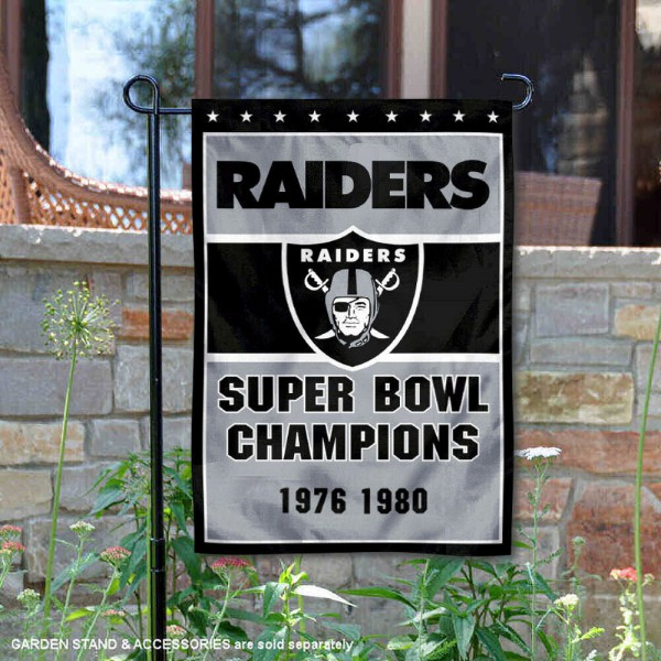 Las Vegas Raiders 2 Time Super Bowl Champs Garden Flag is 12.5x18 inches in size, is made of 2-ply polyester, and has two sided screen printed logos and lettering. Available with Express Next Day Ship, our Las Vegas Raiders 2 Time Super Bowl Champs Garden Flag is NFL Officially Licensed and is double sided.