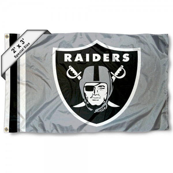 Las Vegas Raiders 2x3 Feet Flag measures 2'x3', is made polyester, has quadruple stitched flyends, two metal grommets, and offers screen printed NFL Las Vegas Raiders logos and insignias. Our Las Vegas Raiders 2x3 Foot Flag is NFL Officially Licensed and approved.