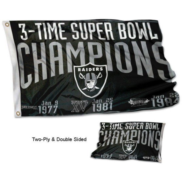 Las Vegas Raiders 3 Time Super Bowl Champions Flag measures 3'x5', is made of 2-ply double sided polyester with liner, has quadruple stitched sewing, two metal grommets, and has two sided team logos. Our Las Vegas Raiders 3 Time Super Bowl Champions Flag is officially licensed by the selected team and the NFL and is available with overnight express shipping.