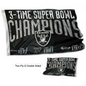 Las Vegas Raiders 3 Time Super Bowl Champions Flag