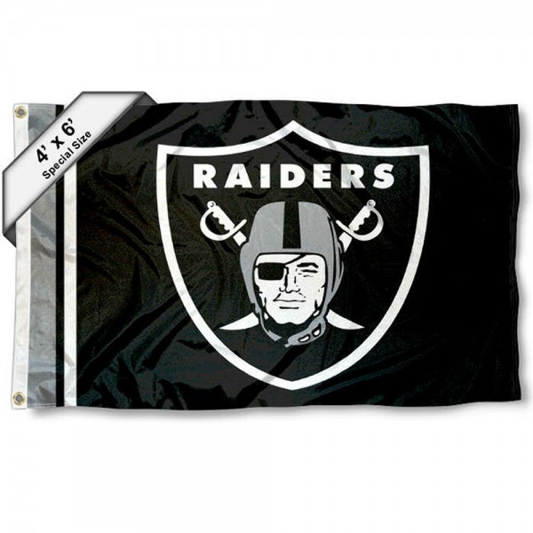 Las Vegas Raiders 4x6 Flag measures a large 4x6 feet, is made polyester, has quadruple stitched flyends, two metal grommets, and offers screen printed NFL Las Vegas Raiders logos and insignias. Our Las Vegas Raiders 4x6 Foot Flag is NFL Officially Licensed and Las Vegas Raiders approved.