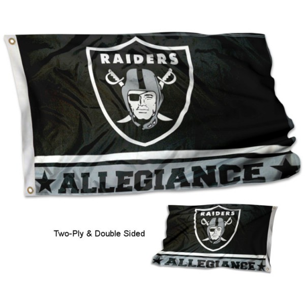 Las Vegas Raiders Allegiance Flag measures 3'x5', is made of 2-ply double sided polyester with liner, has quadruple stitched sewing, two metal grommets, and has two sided team logos. Our Las Vegas Raiders Allegiance Flag is officially licensed by the selected team and the NFL and is available with overnight express shipping.