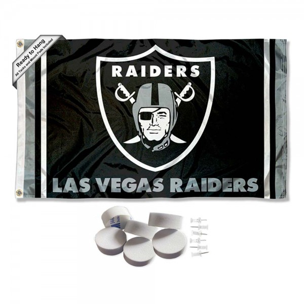 Our Las Vegas Raiders Banner Flag with Tack Wall Pads is double sided, made of poly, 3'x5', has two metal grommets, indoor or outdoor, and four-stitched fly ends. These Las Vegas Raiders Banner Flag with Tack Wall Padss are Officially Approved by the Las Vegas Raiders. Tapestry Wall Hanging Tack Pads which include a 6 pack of banner display pads with 6 tacks allowing you to hang your pennant on any wall damage-free.