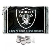 Las Vegas Raiders Banner Flag with Tack Wall Pads