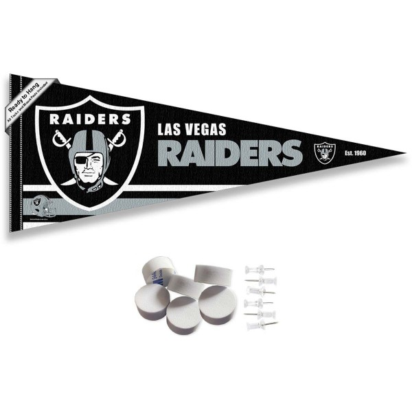 This Las Vegas Raiders Banner Pennant with Tack Wall Pads is 12x30 inches, is made of premium felt blends, has a pennant stick sleeve, and the team logos are single sided screen printed. Our Las Vegas Raiders Banner Pennant Flag is NFL Officially Licensed and include our 6 pack of wall adhesive pads and tacks.