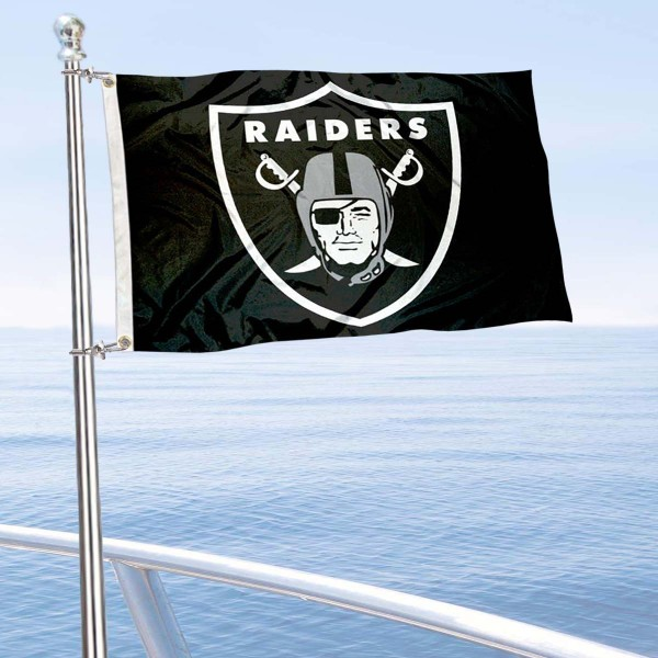 "Our Las Vegas Raiders Boat and Nautical Flag is 12""x18"", made of three-ply poly, has a solid header with two metal grommets, and is double sided. This Boat and Nautical Flag for Las Vegas Raiders is Officially Licensed by the NFL and can also be used as a motorcycle flag, boat flag, golf cart flag, or recreational flag."